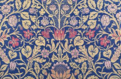 Violet and Columbine Furnishing Fabric, Woven Wool and Mohair, England, 1883