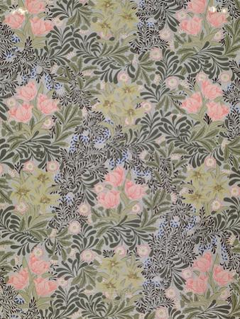 Wallpaper design with Tulips, Daisies and Honeysuckle by William Morris