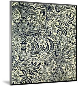Wallpaper with Navy Blue Seaweed Style Design by William Morris