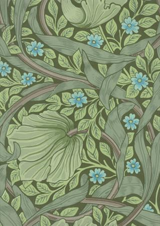 William Morris Wallpaper Sample with Forget-Me-Nots, C.1870 by William Morris