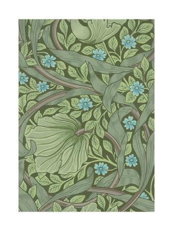 William Morris Wallpaper Sample with Forget-Me-Nots, C.1870