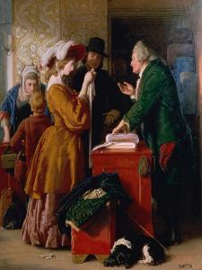 """Choosing the Wedding Gown from Goldsmith's """"Vicar of Wakefield,"""" Chapter 1 by William Mulready"""