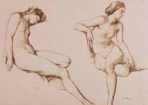 Sepia Drawing of Nude Woman, circa 1860 by William Mulready