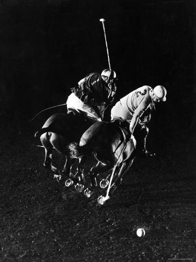 William Nicholls and William Rand of Squadron Polo Team Indoor Polo at National Guard Armory, NYC-Gjon Mili-Premium Photographic Print