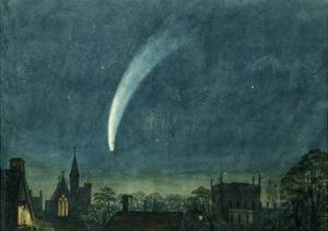 Donati's Comet over Balliol College (W/C with Scratching Out on Paper) by William of Oxford