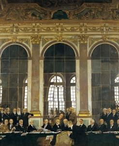 The Signing of Peace in the Hall of Mirrors, Versailles, June 28, 1919 (The Peace of Versailles) by William Orpen