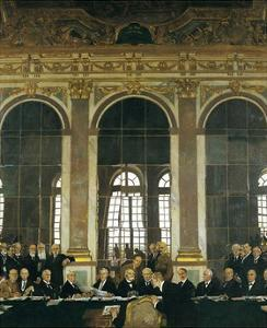 The Signing of the Peace Treaty in the Hall of Mirrors, Versailles, June 28, 1919 by William Orpen