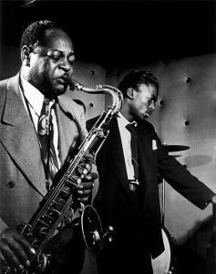 Coleman Hawkins and Miles Davis by William P. Gottlieb