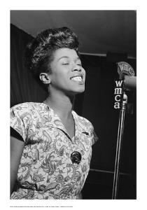 Sarah Vaughan, WMCA Microphone by William P^ Gottlieb