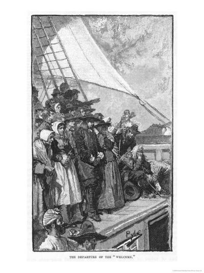William Penn and Other Quakers Sail to the New World in the Welcome-Howard Pyle-Giclee Print