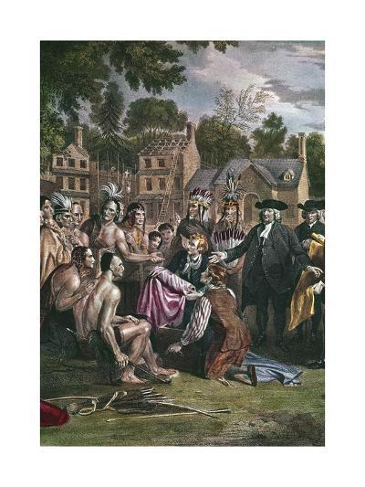 William Penn, English Quaker Colonist, Treating with Native North Americans, 1682 (1771-177)-Benjamin West-Giclee Print