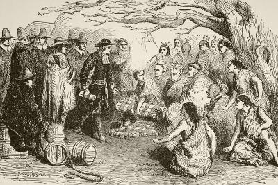 William Penn Makes a Treaty with the Delaware or Lenape Indians in 1682--Giclee Print