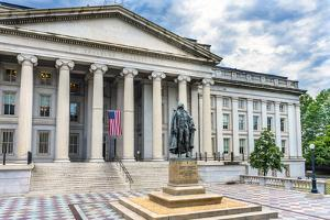 Albert Gallatin Statue, US Treasury Department, Washington DC. Statue by James Fraser and dedicated by William Perry