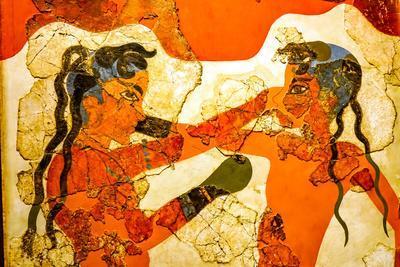 Ancient boxers fresco from Akrotiri Ruins, Santorini Island, Greece 16th Century BC