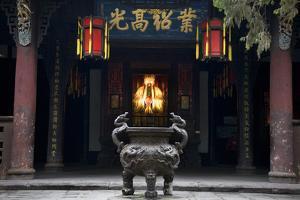Ancient Liu Bei Statue, Iron Pot, Wuhou Memorial, Three Kingdoms, Temple, Chengdu, Sichuan, China by William Perry