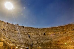 Ancient Roman Amphitheater, Jerash, Jordan. by William Perry