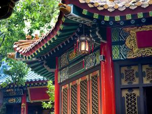 Ancient Roofs Red Pavilions Small Lantern Wong Tai Sin Good Fortune Taoist Temple Kowloon Hong Kong by William Perry