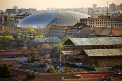 Big Silver Egg Concert Hall Close-Up, Beijing, China. Forbidden City in Foreground