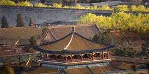 Blue Pavilion Green Trees Forbidden City, Beijing, China by William Perry
