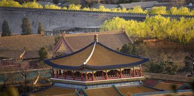 Blue Pavilion Green Trees Forbidden City, Beijing, China