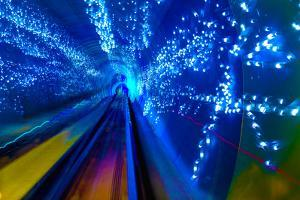 Blue Sparks Rail Abstract Underground Railway Pudong Bund Shanghai, China. Black Hole of Shanghai by William Perry