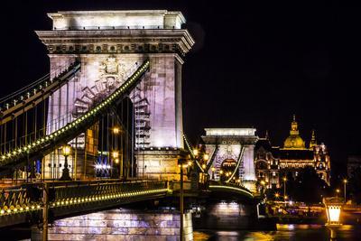 Chain Bridge, St. Stephens. Danube River Reflection, Budapest, Hungary