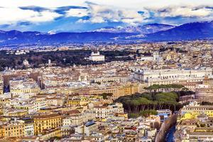 Cityscape Churches Buildings Borghese Garden Mountains, Rome, Italy. by William Perry