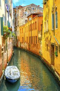 Colorful small canal bridge and reflection, Venice, Italy by William Perry