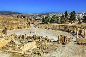 Ionic Columns, Oval Plaza, Roman City, Jerash, Jordan. by William Perry