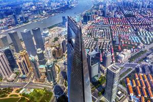 Looking Down on the Liujiashui Financial District, Shanghai, China. by William Perry