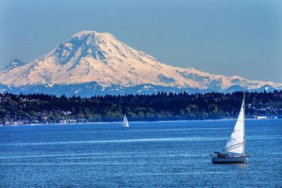 Mount Rainier Puget Sound North Seattle Snow Mountain Sailboats, Washington State
