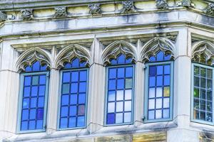 Multicolored blue window, Yale University, New Haven, Connecticut. by William Perry