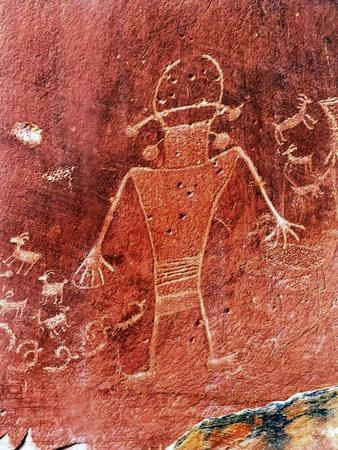 Native American Indian Fremont Petroglyphs Sandstone Mountain Capitol Reef National Park Torrey