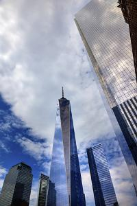 New World Trade Center Glass Building Skyscraper Skyline Blue Clouds Reflection New York City, Ny by William Perry