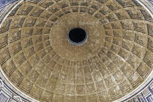 Oculus at night, Pantheon, Rome, Italy. Rebuilt by Hadrian in 118 to 125 AD. Became oldest Roman ch by William Perry