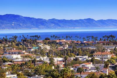 Orange Roofs Buildings Coastline Pacific Ocean Santa Barbara, California