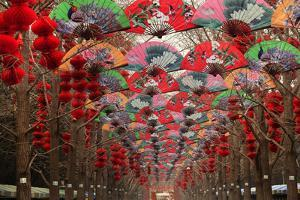 Paper Fans and Lucky Red Lanterns are Chinese New Year Decorations, Ditan Park, Beijing, China by William Perry