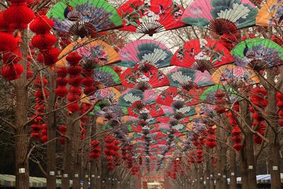 Paper Fans and Lucky Red Lanterns are Chinese New Year Decorations, Ditan Park, Beijing, China