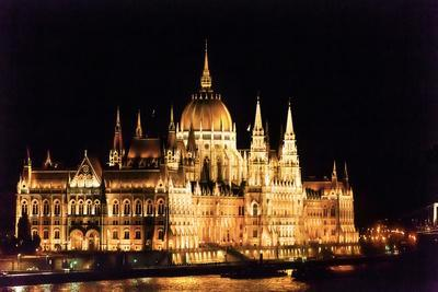 Parliament Building, Danube River Reflection, Budapest, Hungary.