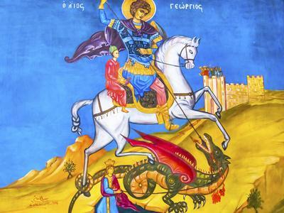 Saint George Dragon Fresco, Saint George's Greek Orthodox Church, Madaba, Jordan