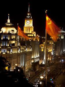 Shanghai, China Bund at Night Cars, Flags by William Perry