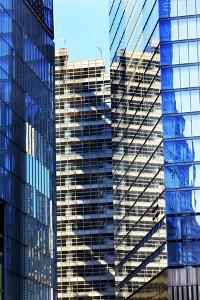 Skyscraper Apartments Glass Buildings Abstract Blue Reflection New York City, Ny by William Perry