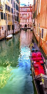 Small canal bridge, red fancy gondola, Venice, Italy by William Perry