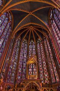 Stained Glass at Saint Chappelle Cathedral Paris, France by William Perry