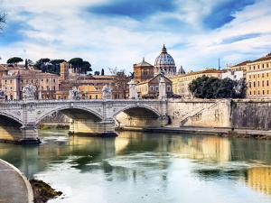 Vatican dome and Tiber River, Ponte Vittorio Emanuele III, Rome, Italy. Bridge built in 1886 near V by William Perry