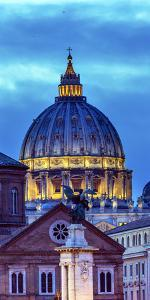 Vatican Dome Buildings Night, Rome, Italy. by William Perry