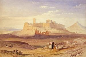 View of Athens with the Acropolis and the Odeon of Herodes Atticus, First Quarter of 19th C by William Purser