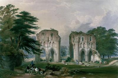 Roche Abbey, View from the West, from 'The Monastic Ruins of Yorkshire', 1842