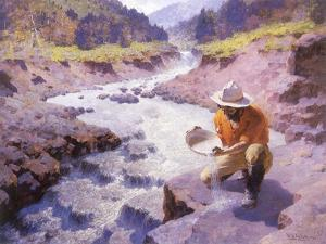 Panning Gold, Wyoming, 1949 by William Robinson Leigh