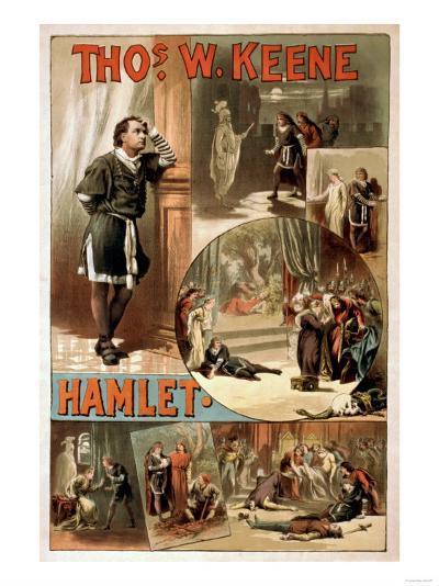 "William Shakespeare ""Hamlet"" Theatre Poster-Lantern Press-Art Print"